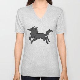Black wolf pattern Unisex V-Neck