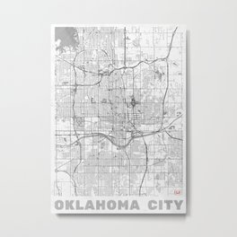 Oklahoma City Map Line Metal Print