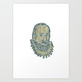 Sir Walter Raleigh Bust Drawing Art Print