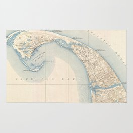 Vintage Map of Lower Cape Cod Rug