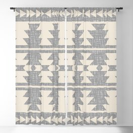 Southwestern Pattern 131 Grey and Beige Blackout Curtain