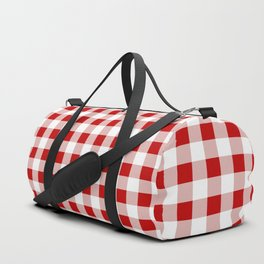 Red and White Check Duffle Bag