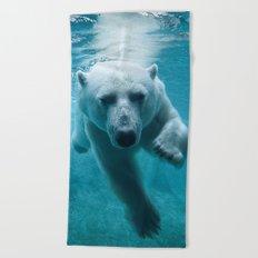 Polar Bear Swimming Beach Towel