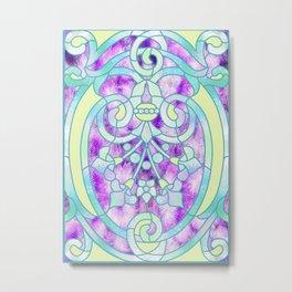 Art Nouveau Aqua and Purple Batik Design Metal Print