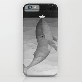 Black and white, whale, paper boat iPhone Case