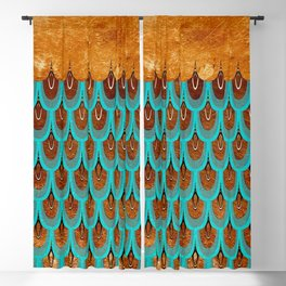 Copper Metal Foil and Aqua Mermaid Scales- Abstract glitter pattern  Blackout Curtain