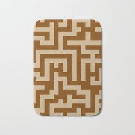 Tan Brown and Chocolate Brown Labyrinth Bath Mat