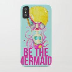 golden.  a happy mermaid Slim Case iPhone X