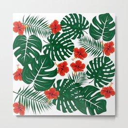 Tropical Leaves Hibiscus Flowers Metal Print