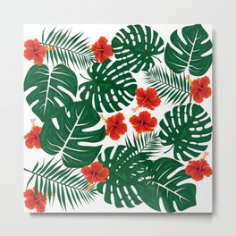 Tropical Leaves Hibiscus Flowers Metal Print