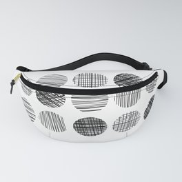 Abstract Lines Circles in Black and White Fanny Pack