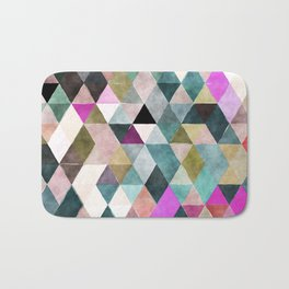 Abstract colorful watercolor geometrical triangles Bath Mat