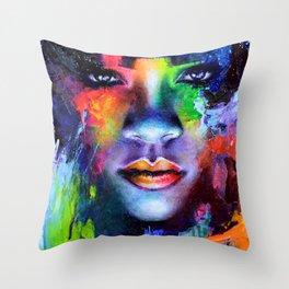 Rihanna Colors Throw Pillow