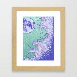 Unicorns in Seafoam Framed Art Print