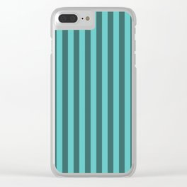 Turquoise Blue Stripes Pattern Clear iPhone Case