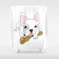 french bulldog Shower Curtains featuring French Bulldog  by yosom