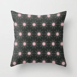 Pink & Gray Bursts Throw Pillow