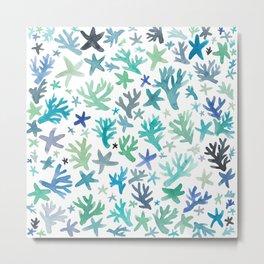 Coral & Starfish Pattern print - pure ocean Metal Print
