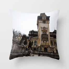 Peles castle, Romania, Brasov, fountain details Throw Pillow