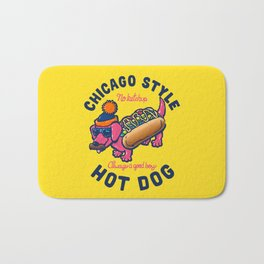 Da Chicago Dog With Text Bath Mat