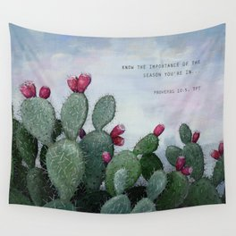 Prickly Pear Cactus Proverbs 10 Hand Lettering Art Wall Tapestry