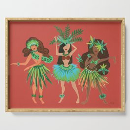 Luau Girls on Coral Serving Tray