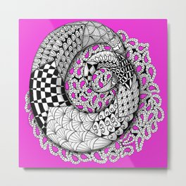 Zentangle Mobius Pink Metal Print