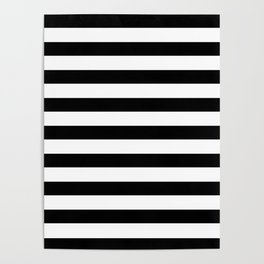Midnight Black and White Stripes Poster