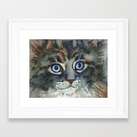 tim shumate Framed Art Prints featuring Tim by Cat Art by Lori Alexander