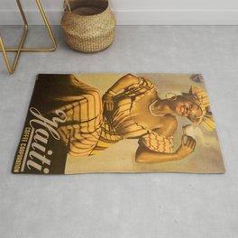 Vintage Haitian Island Coffee Corporation Advertisement Poster Ad Rug
