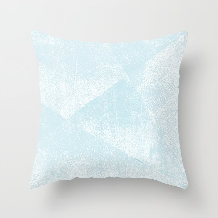 Light Blue and White Geometric Triangles Lino-Textured Print Throw Pillow