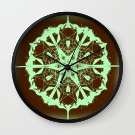 Green Mandala Wall Clock