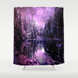 A Cold Winter's Night : Purple Lavender Winter Wonderland Shower Curtain