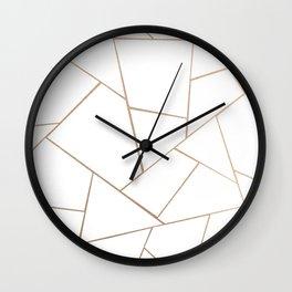 Rose Gold White Geometric Glam #1 #geo #decor #art #society6 Wall Clock