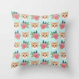 Tabby cat florals flowers must have cat themed gifts pet portrait cat lady mint pastel cat art fur Throw Pillow