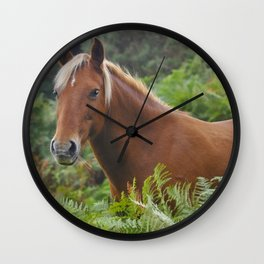 Wild Palomino Flaxen-maned New Forest Horse Wall Clock