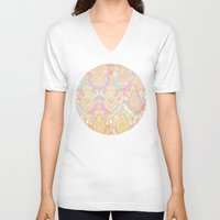 deco V-neck T-shirts featuring Rosy Opalescent Art Deco Pattern by micklyn