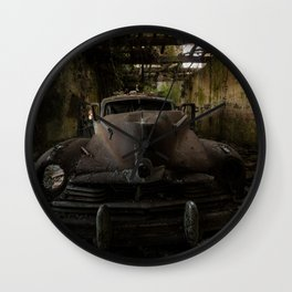 Gangster squad, abandoned old car Wall Clock