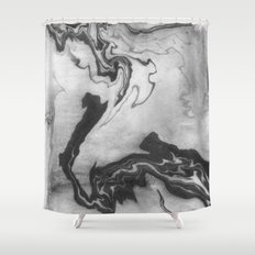 Hiroto - ink japanese marble paper free monoprint pattern marbled cell phone case india ink painting Shower Curtain