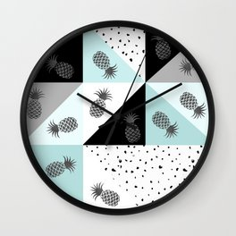 Teal black white dots pineapple geometrical color block Wall Clock