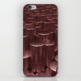 Pattern of red brushed metal cylinders iPhone Skin