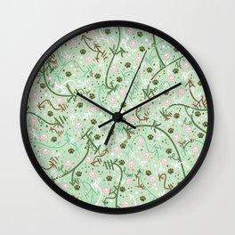 Mint Chip Paw Prints Wall Clock