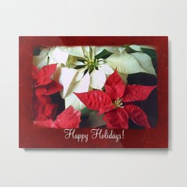Mixed Color Poinsettias 2 Happy Holidays P5F1 Metal Print