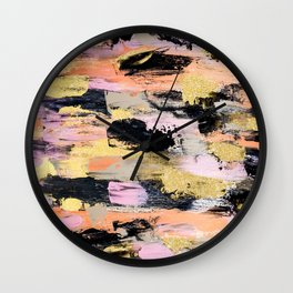 Modern abstract black pink salmon gold hand painted acrylic brushstrokes paint Wall Clock