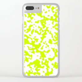 Spots - White and Fluorescent Yellow Clear iPhone Case