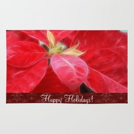 Mottled Red Poinsettia 2 Happy Holidays S5F1 Rug