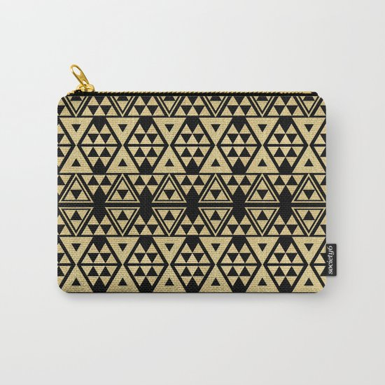 Black and Gold Geometric Pattern 2 Carry-All Pouch