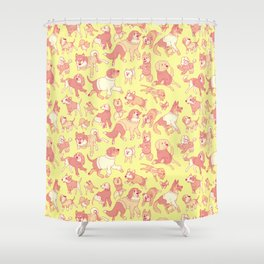 Dogs In Sweaters (Yellow) Shower Curtain
