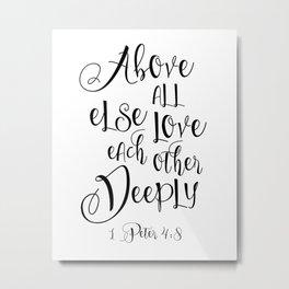 Bible Verse 1 John 4:8 Christian Quote Typography Wall Art Printable Art Bible Verse Printable ART Metal Print