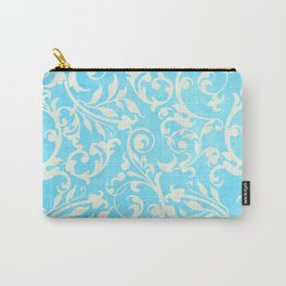 Shabby Chic Aqua Damask Carry-All Pouch
